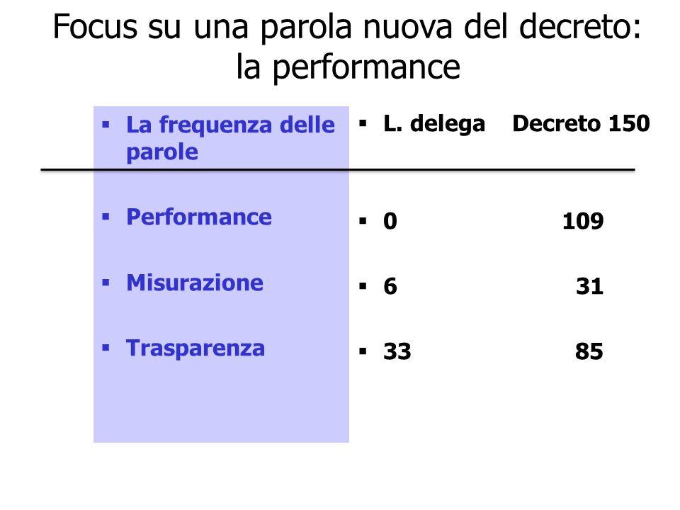 Focus su una parola nuova del decreto: la performance