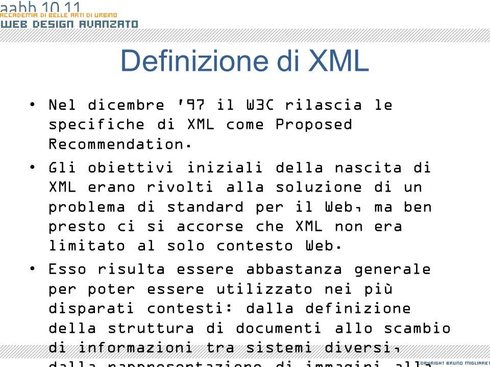 Definizione di XML Nel dicembre 97 il W3C rilascia le specifiche di XML come Proposed Recommendation.