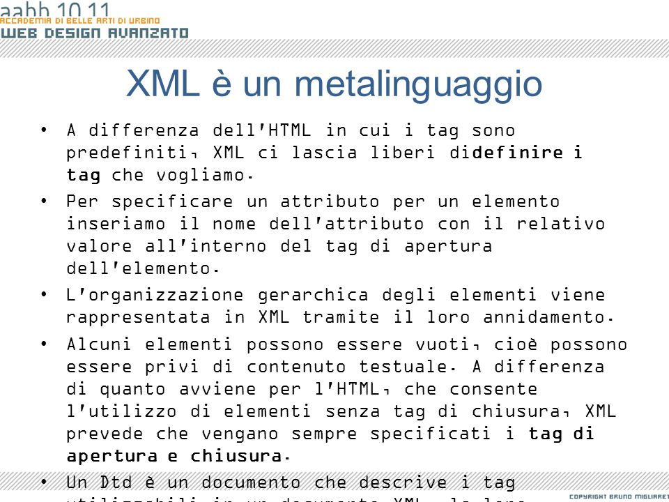 XML è un metalinguaggio