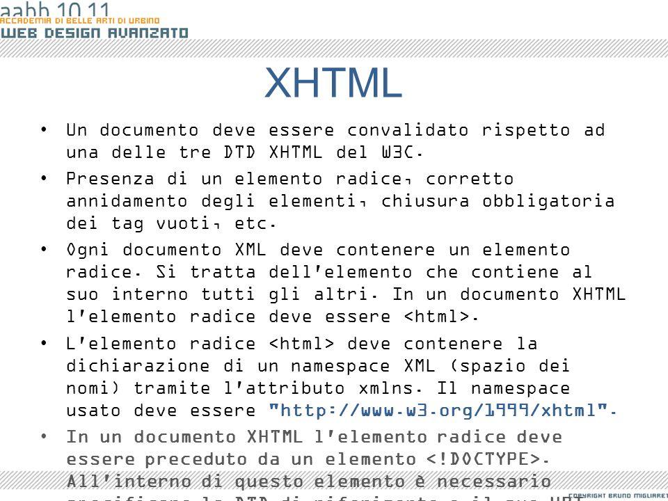 XHTML Un documento deve essere convalidato rispetto ad una delle tre DTD XHTML del W3C.
