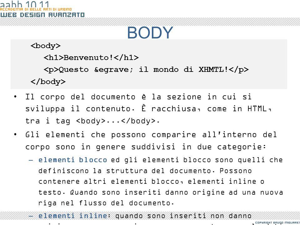BODY <body> <h1>Benvenuto!</h1>