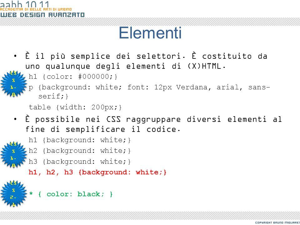 Elementi È il più semplice dei selettori. È costituito da uno qualunque degli elementi di (X)HTML. h1 {color: #000000;}