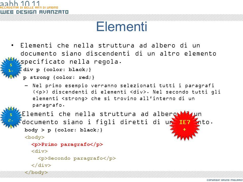 Elementi Elementi che nella struttura ad albero di un documento siano discendenti di un altro elemento specificato nella regola.