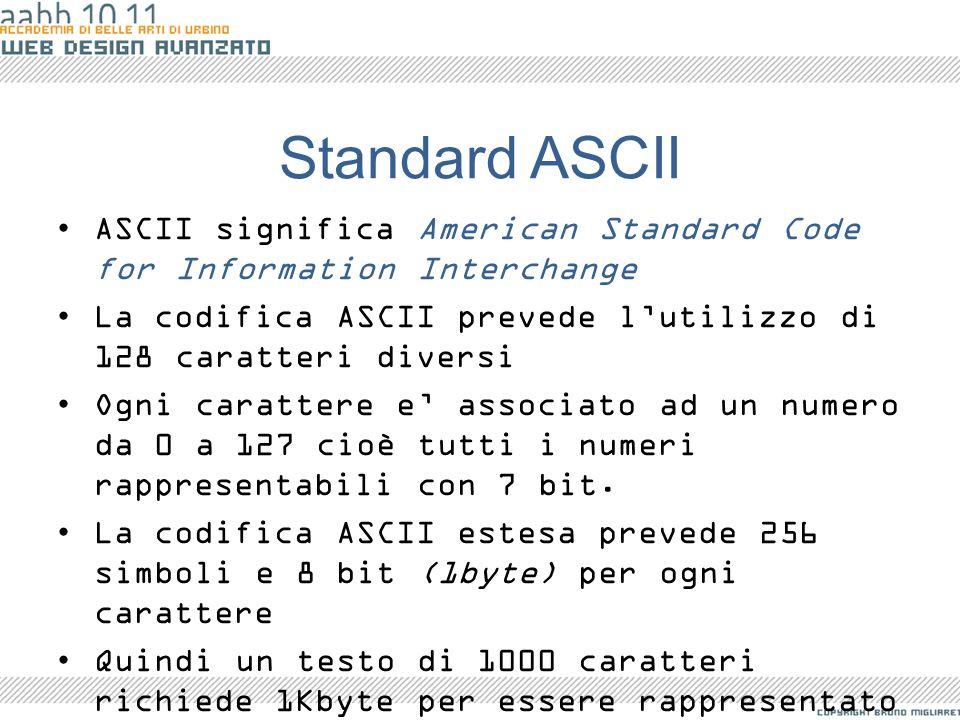 Standard ASCII ASCII significa American Standard Code for Information Interchange. La codifica ASCII prevede l'utilizzo di 128 caratteri diversi.