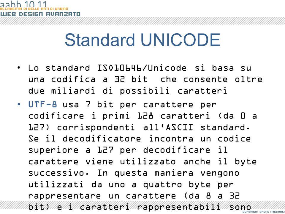 Standard UNICODE Lo standard ISO10646/Unicode si basa su una codifica a 32 bit che consente oltre due miliardi di possibili caratteri.