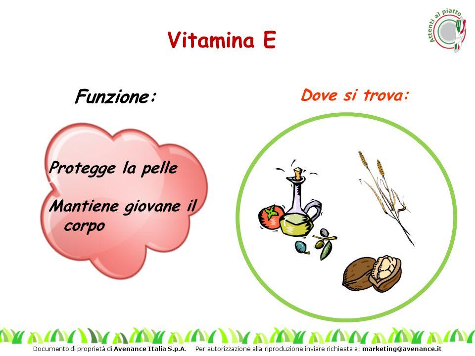 Vitamina E Funzione: Dove si trova: Protegge la pelle