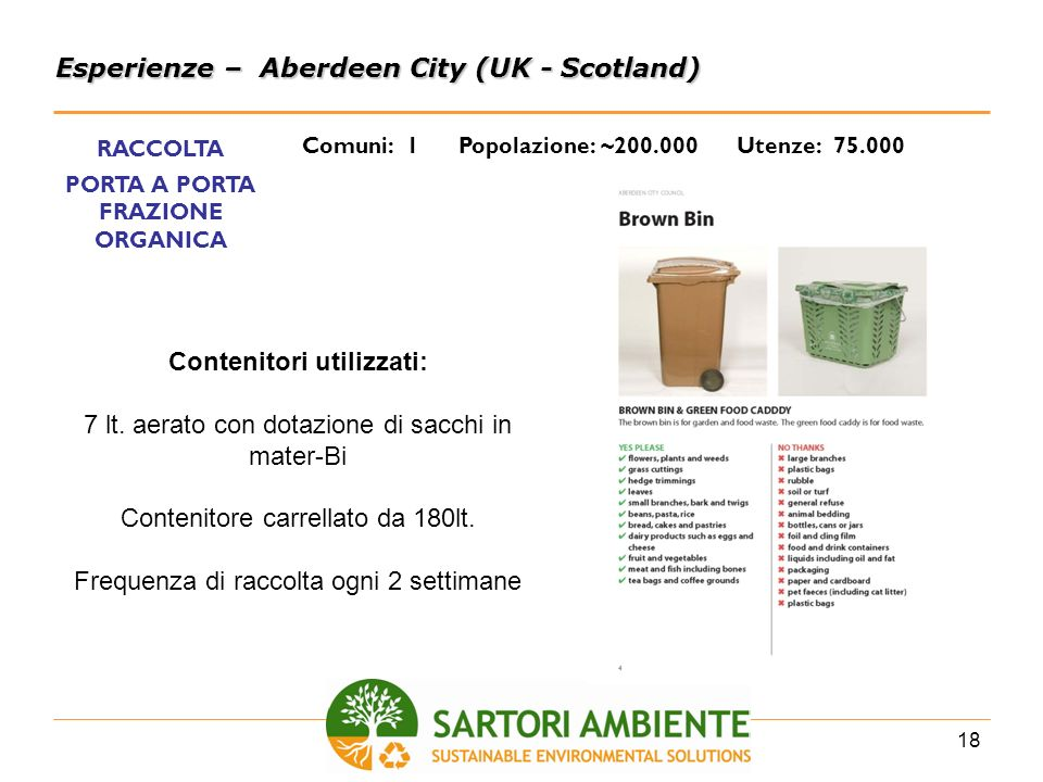 PORTA A PORTA FRAZIONE ORGANICA Contenitori utilizzati: