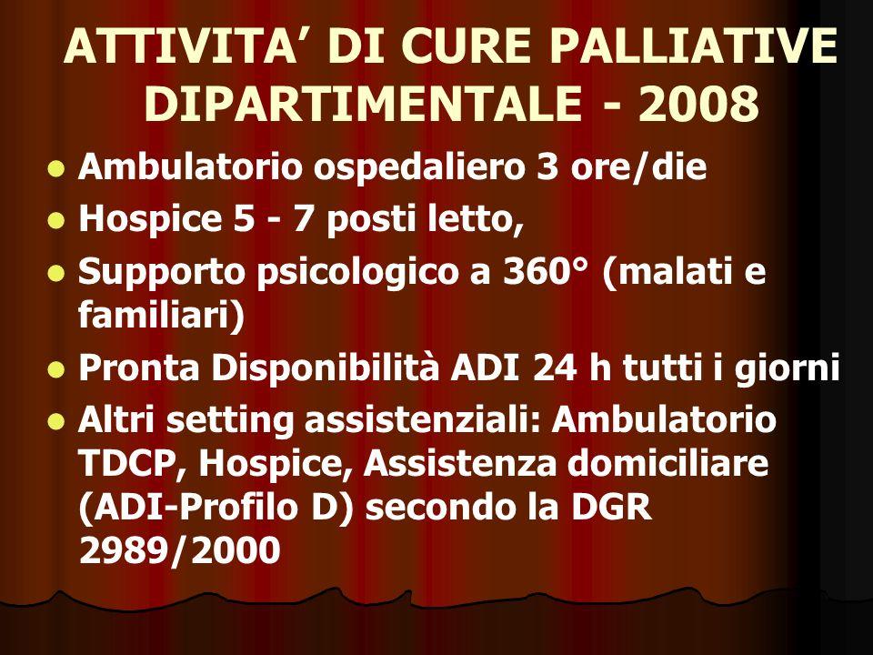 ATTIVITA' DI CURE PALLIATIVE DIPARTIMENTALE - 2008