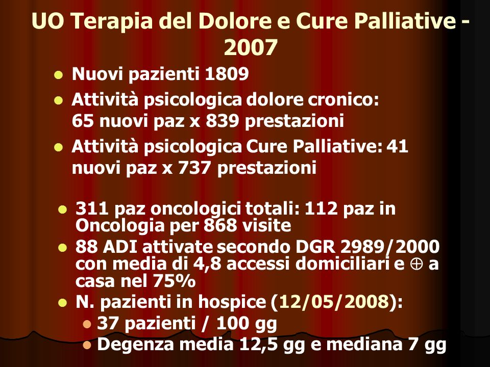 UO Terapia del Dolore e Cure Palliative - 2007