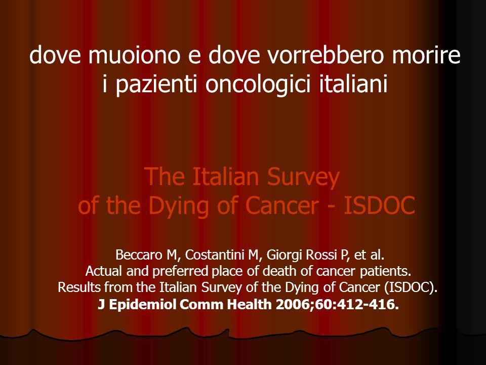 dove muoiono e dove vorrebbero morire i pazienti oncologici italiani