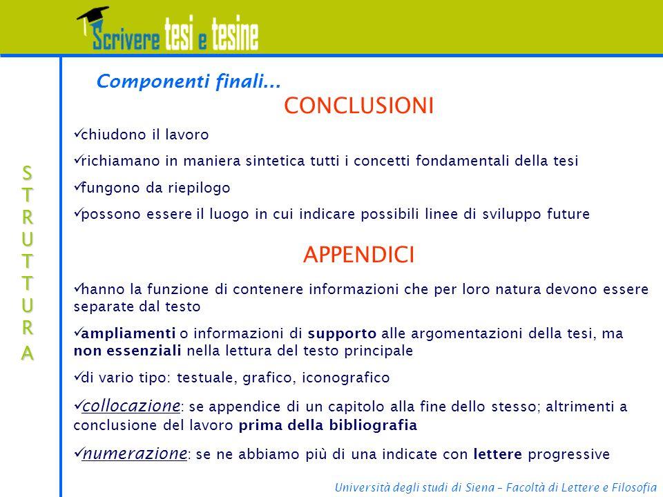 CONCLUSIONI APPENDICI Componenti finali... STRUTTURA