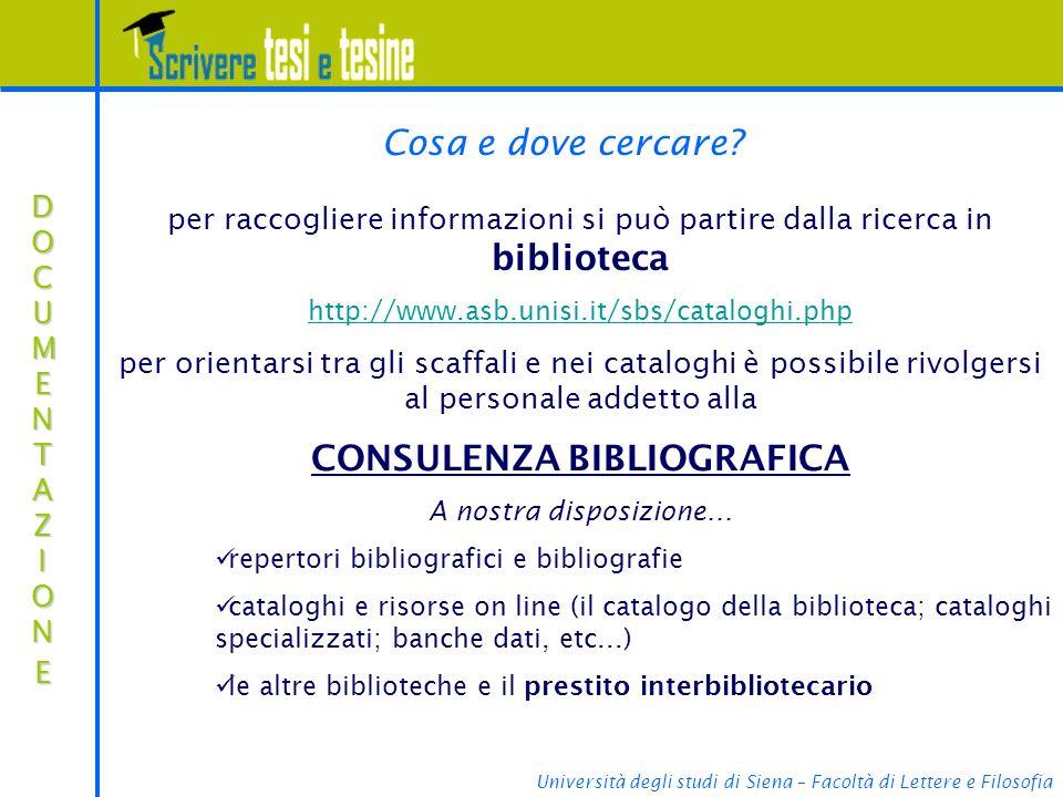CONSULENZA BIBLIOGRAFICA