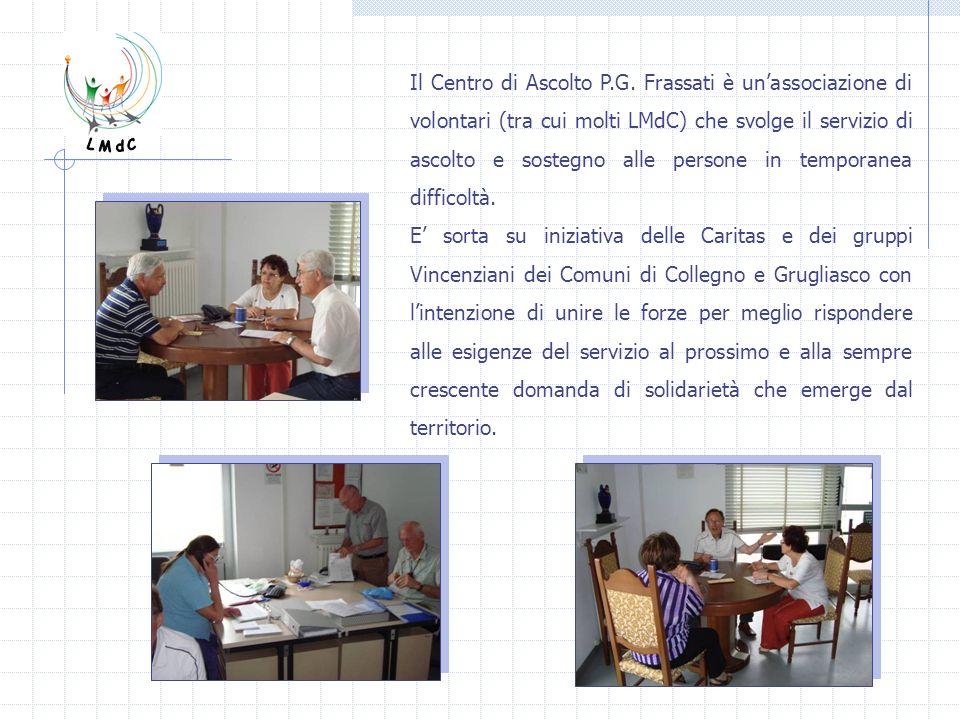 Il Centro di Ascolto P.G. Frassati è un'associazione di volontari (tra cui molti LMdC) che svolge il servizio di ascolto e sostegno alle persone in temporanea difficoltà.