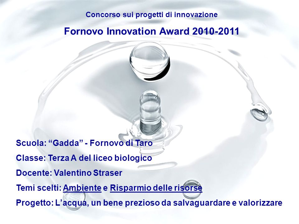 Fornovo Innovation Award 2010-2011