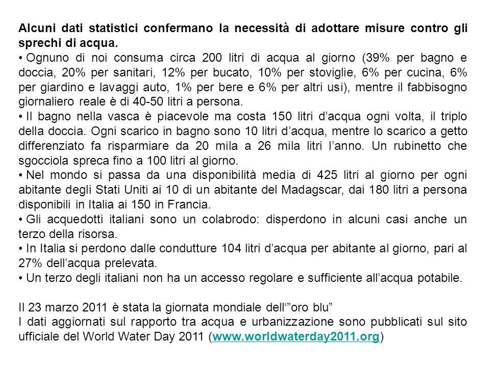 Alcuni dati statistici confermano la necessità di adottare misure contro gli sprechi di acqua.