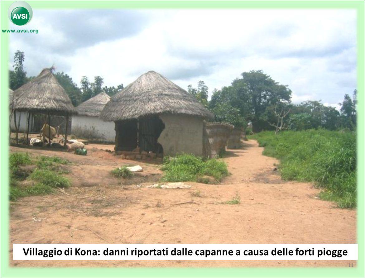 Villaggio di Kona: danni riportati dalle capanne a causa delle forti piogge