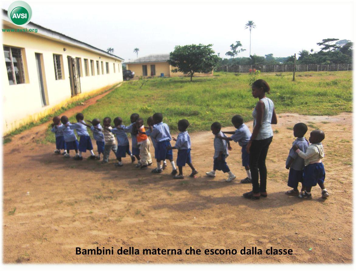 Bambini della materna che escono dalla classe