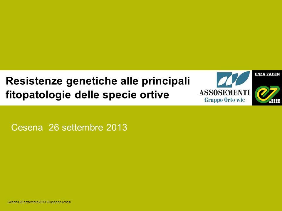 Resistenze genetiche alle principali fitopatologie delle specie ortive