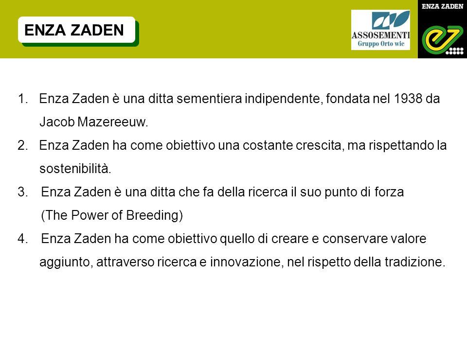 ENZA ZADEN 1. Enza Zaden è una ditta sementiera indipendente, fondata nel 1938 da. Jacob Mazereeuw.