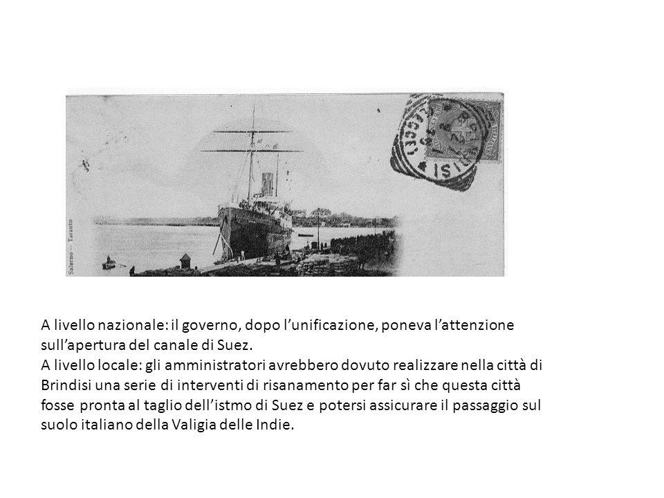 A livello nazionale: il governo, dopo l'unificazione, poneva l'attenzione sull'apertura del canale di Suez.