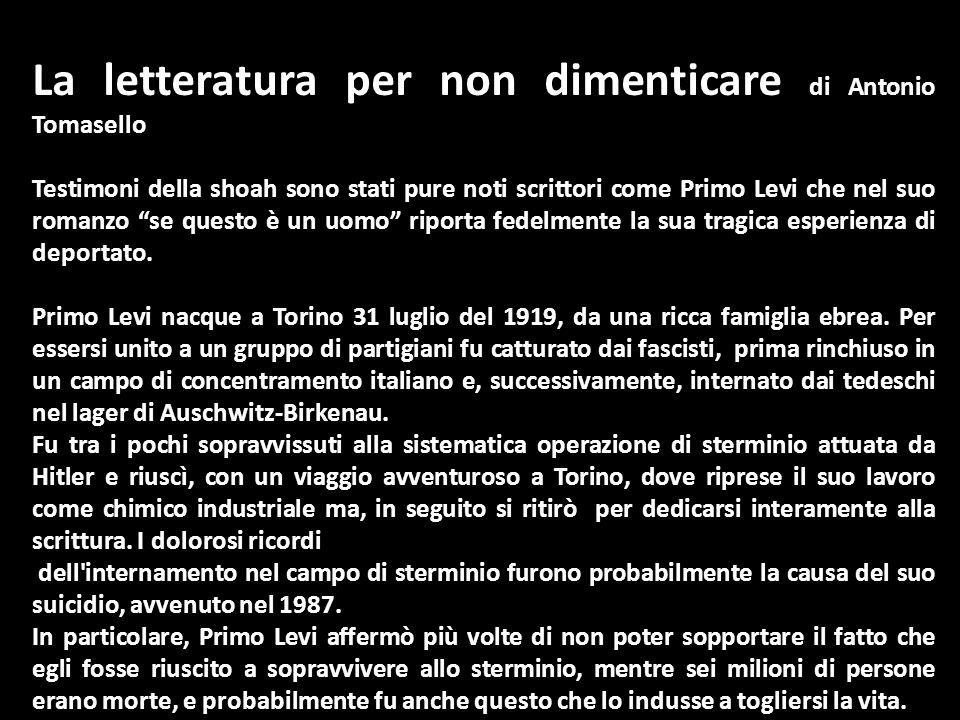 La letteratura per non dimenticare di Antonio Tomasello