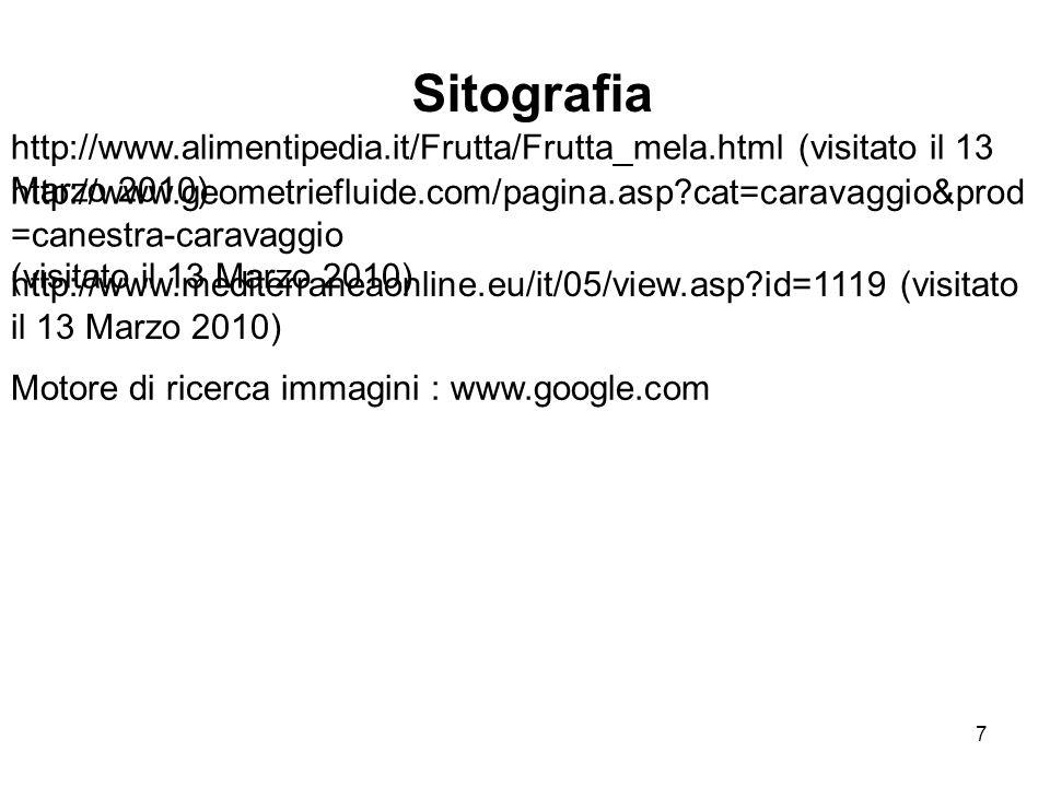 Sitografia http://www.alimentipedia.it/Frutta/Frutta_mela.html (visitato il 13 Marzo 2010)
