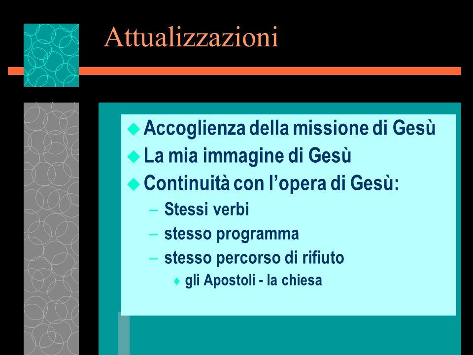 Attualizzazioni Accoglienza della missione di Gesù