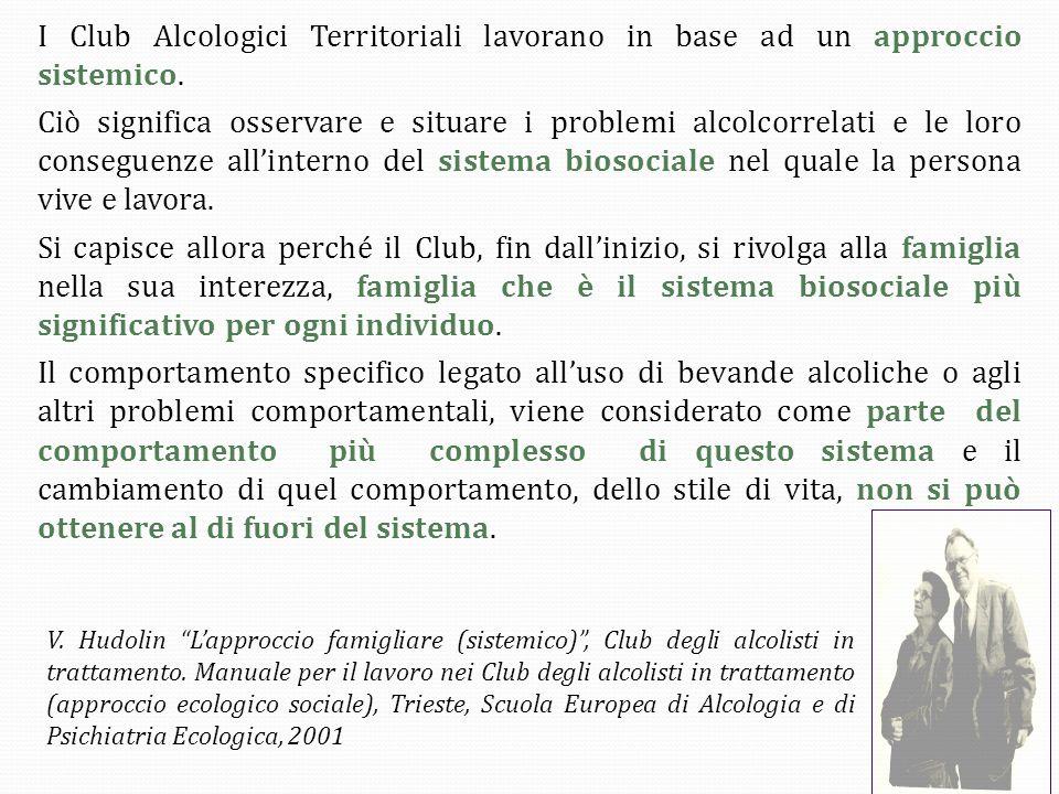 I Club Alcologici Territoriali lavorano in base ad un approccio sistemico.