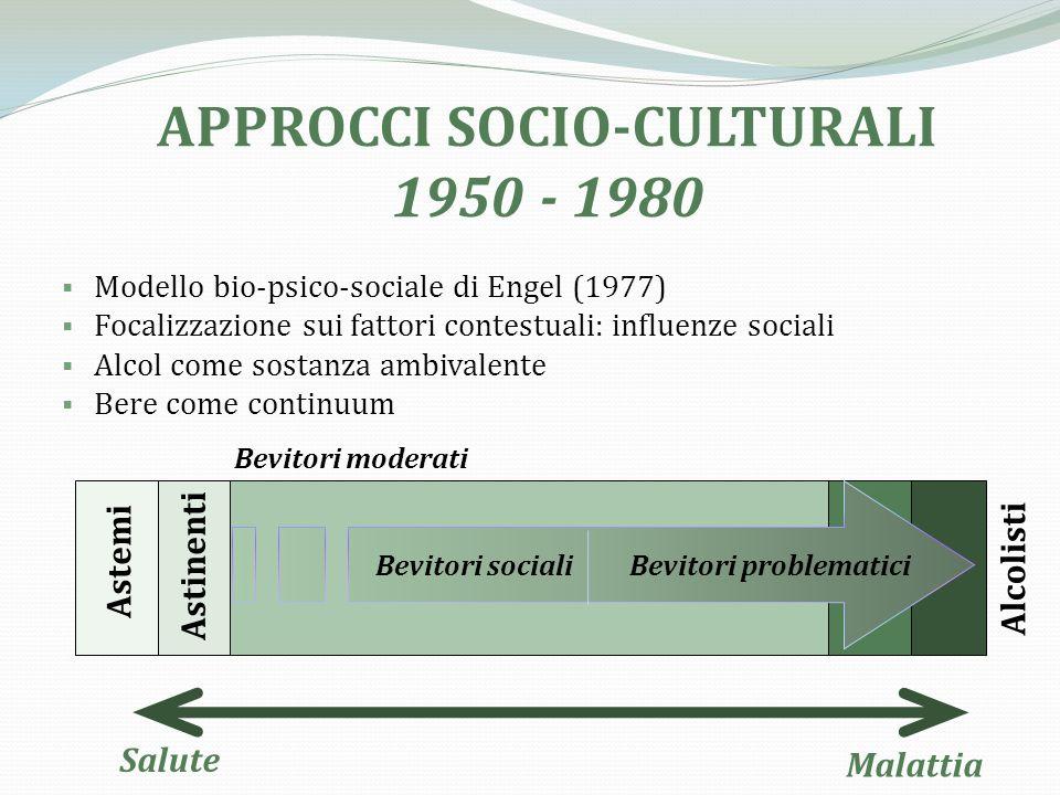 APPROCCI SOCIO-CULTURALI Bevitori problematici