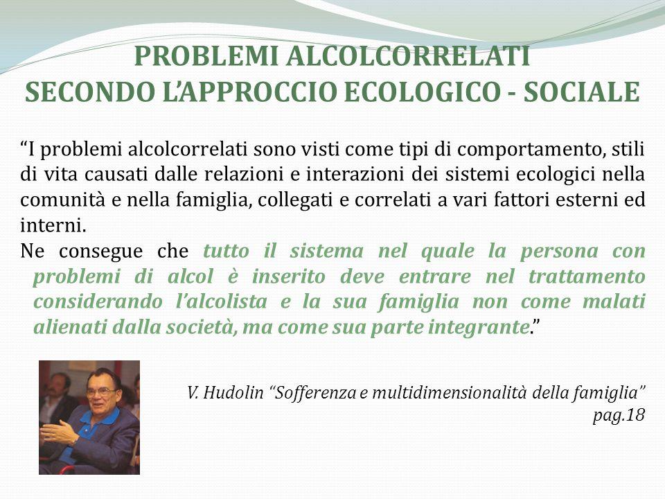 PROBLEMI ALCOLCORRELATI SECONDO L'APPROCCIO ECOLOGICO - SOCIALE