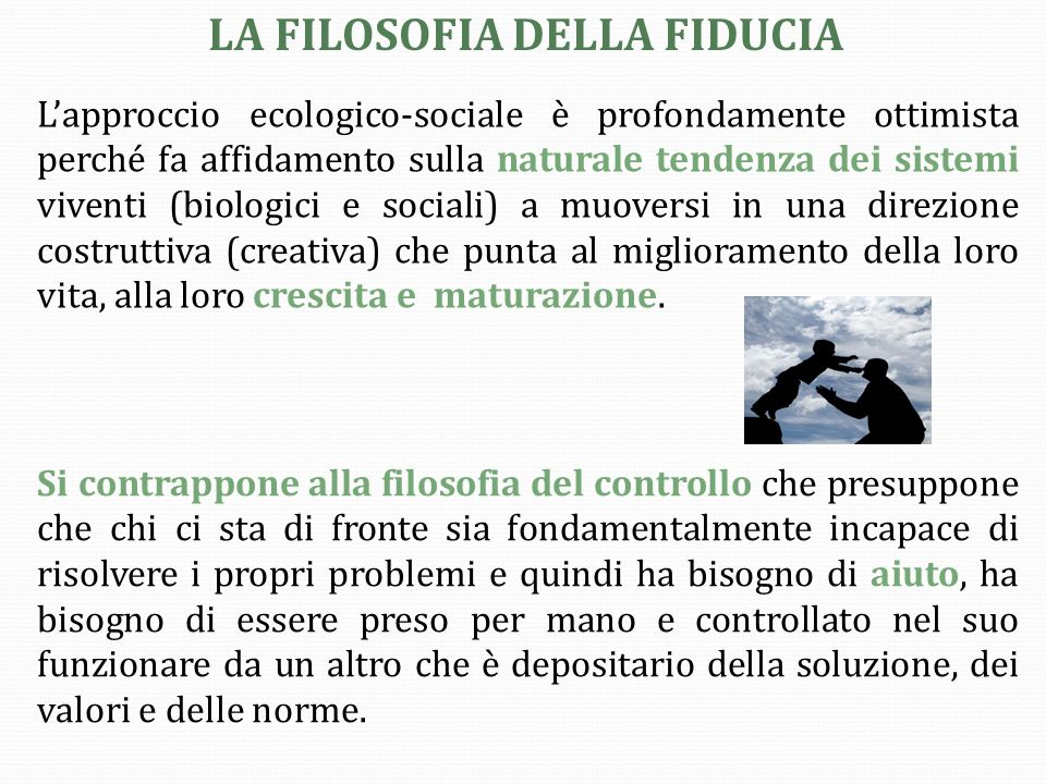 LA FILOSOFIA DELLA FIDUCIA