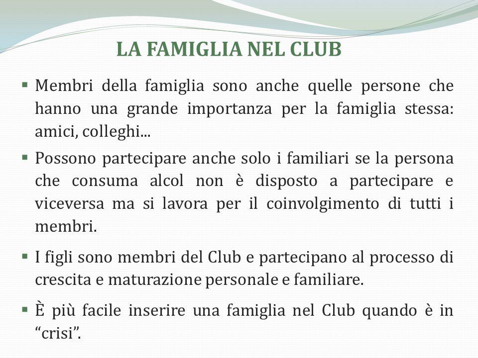 LA FAMIGLIA NEL CLUB Membri della famiglia sono anche quelle persone che hanno una grande importanza per la famiglia stessa: amici, colleghi...