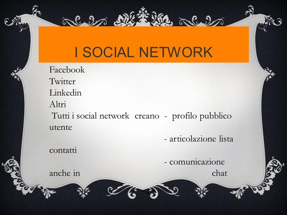 I SOCIAL NETWORK Facebook Twitter Linkedin Altri