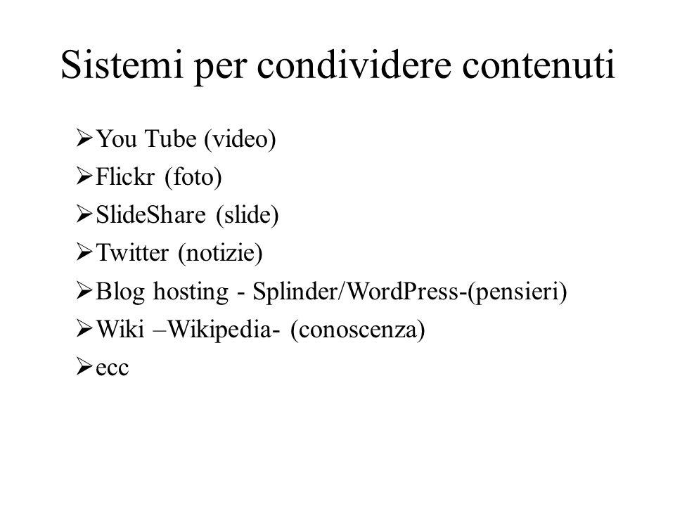 Sistemi per condividere contenuti