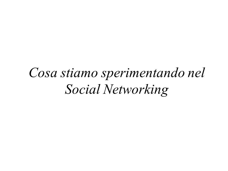 Cosa stiamo sperimentando nel Social Networking