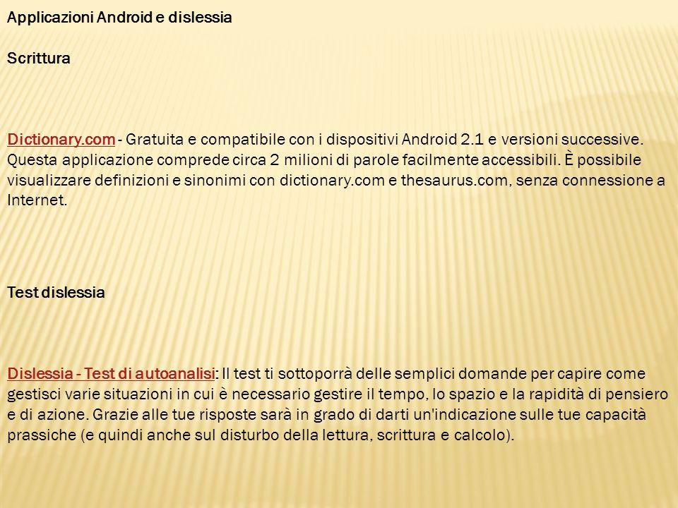 Applicazioni Android e dislessia