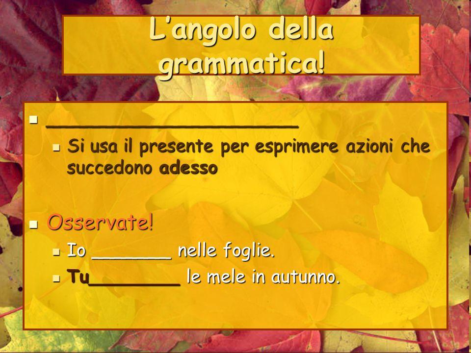 L'angolo della grammatica!