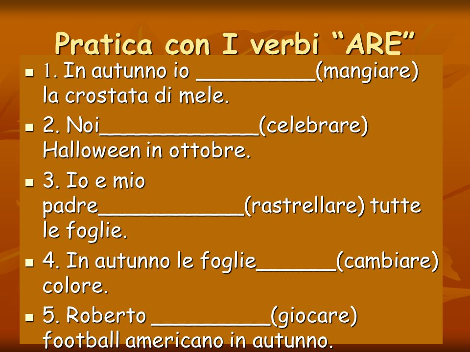 Pratica con I verbi ARE