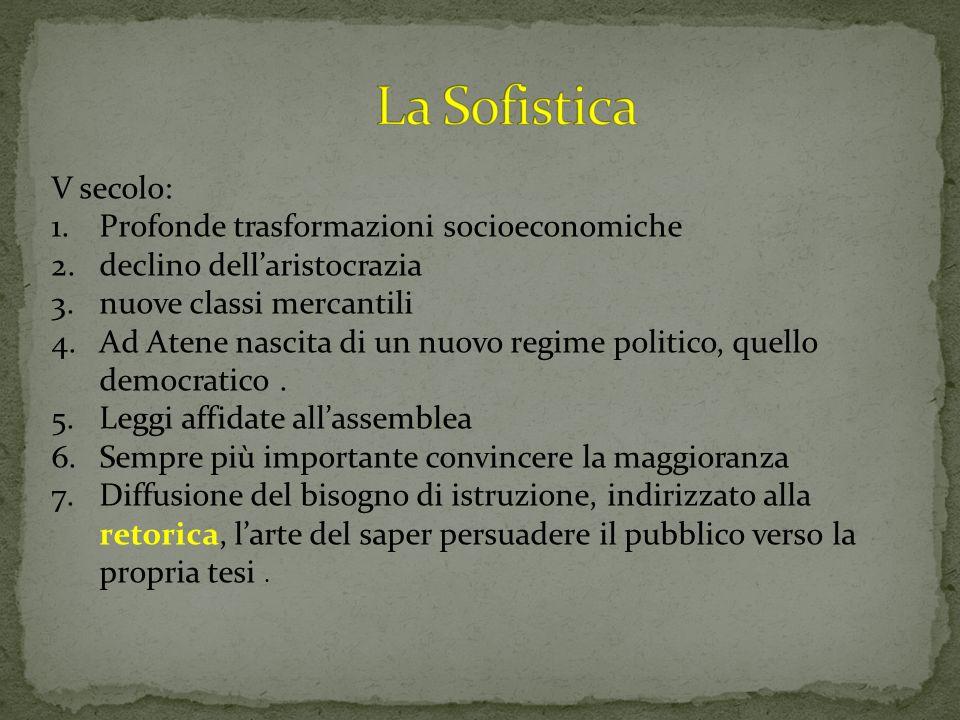La Sofistica V secolo: Profonde trasformazioni socioeconomiche
