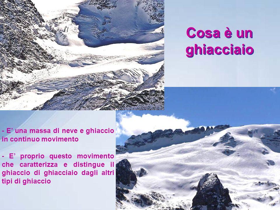 Cosa è un ghiacciaio - E' una massa di neve e ghiaccio in continuo movimento.