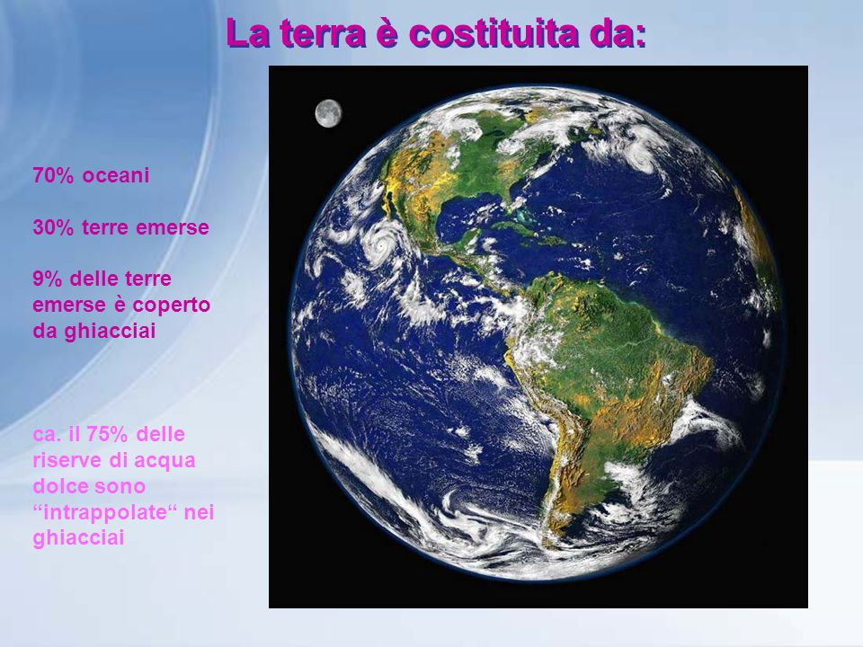 La terra è costituita da: