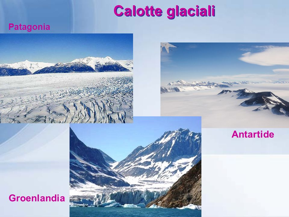 Calotte glaciali Patagonia Antartide Groenlandia