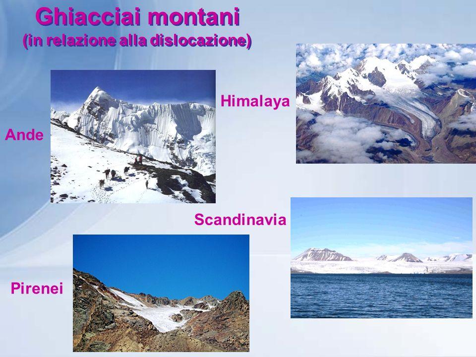 Ghiacciai montani (in relazione alla dislocazione)