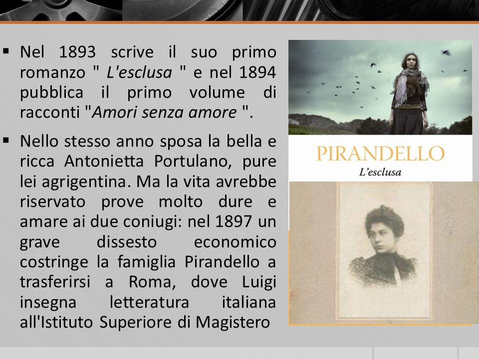 Nel 1893 scrive il suo primo romanzo L esclusa e nel 1894 pubblica il primo volume di racconti Amori senza amore .