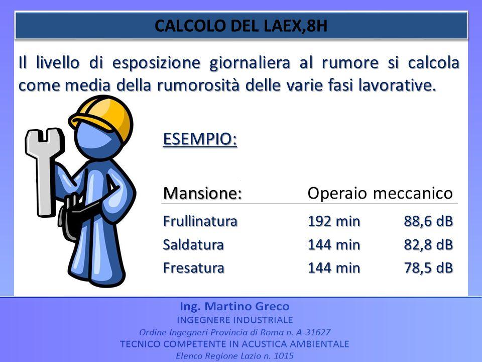 Mansione: Operaio meccanico Frullinatura 192 min 88,6 dB