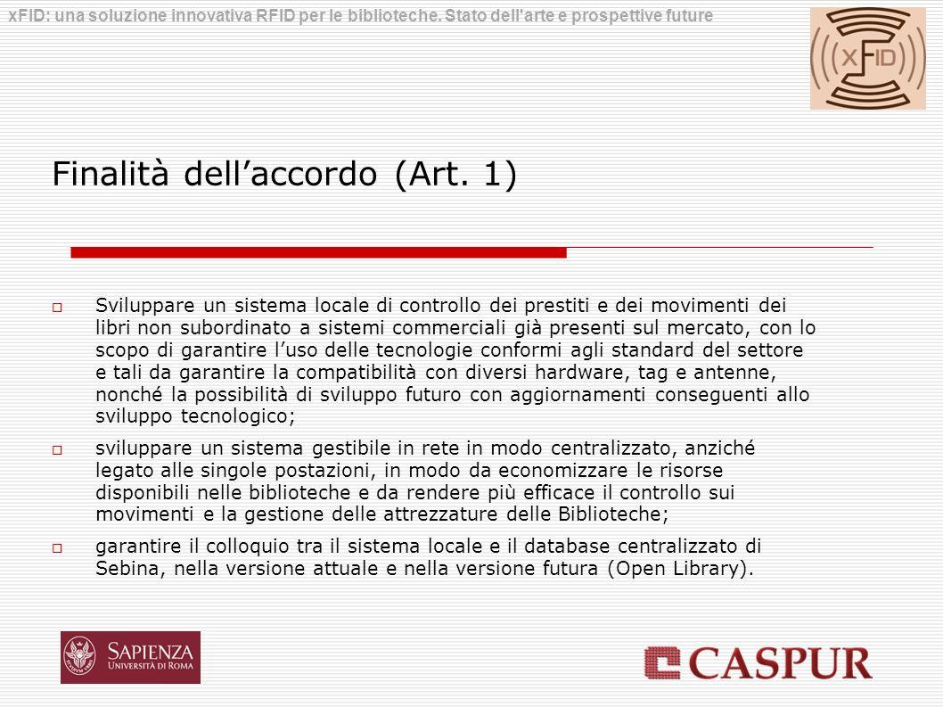 Finalità dell'accordo (Art. 1)