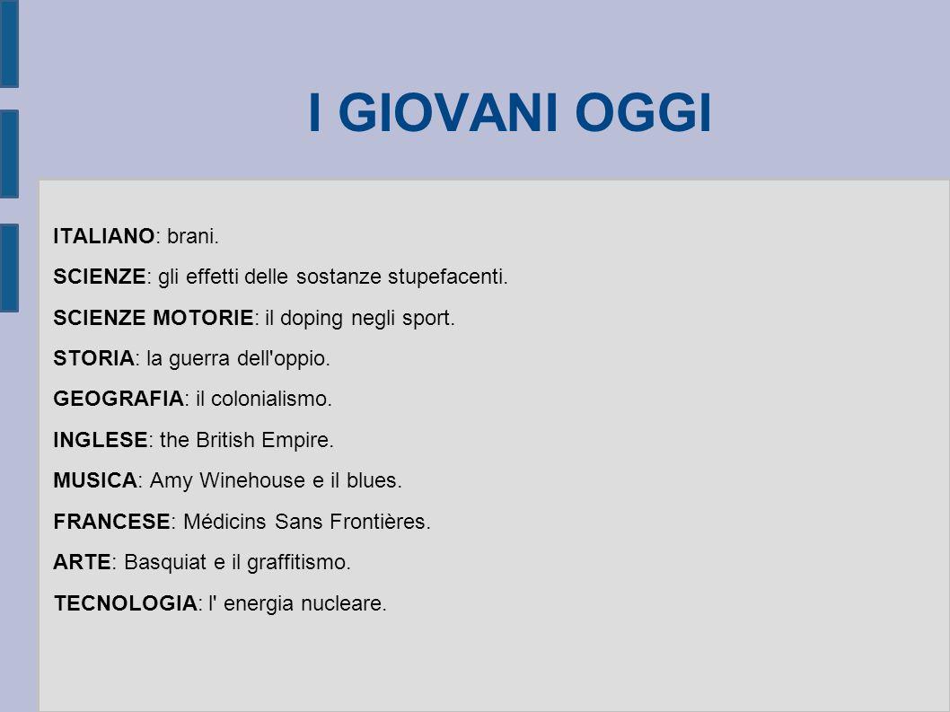 I GIOVANI OGGI ITALIANO: brani.