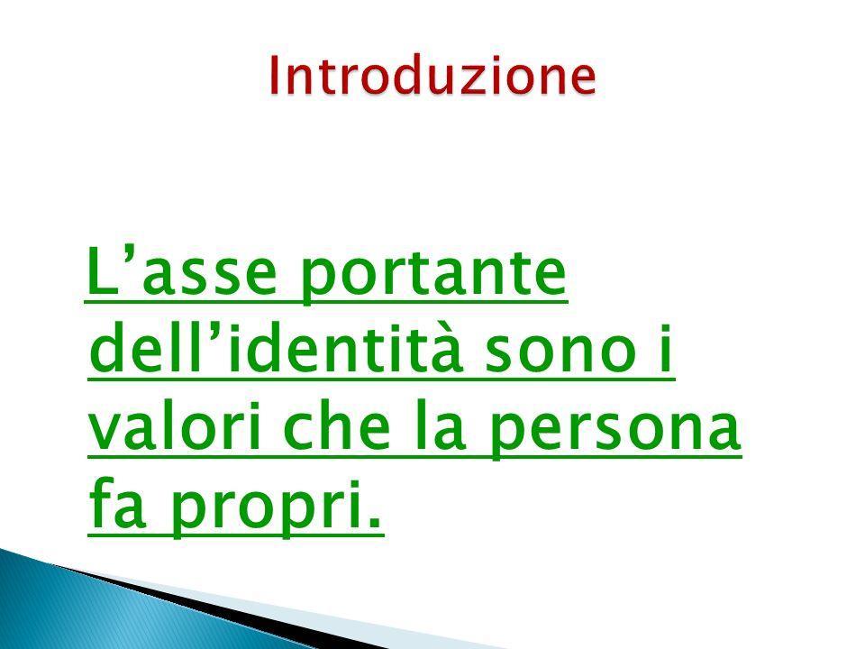L'asse portante dell'identità sono i valori che la persona fa propri.