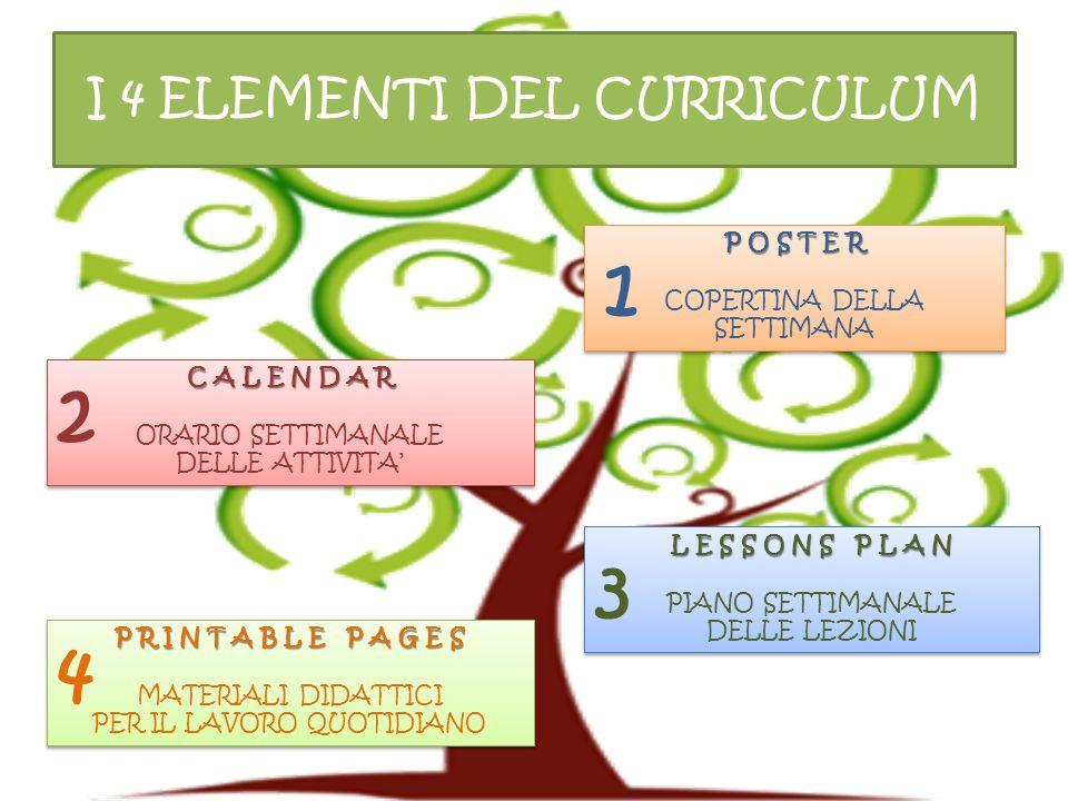 I 4 ELEMENTI DEL CURRICULUM