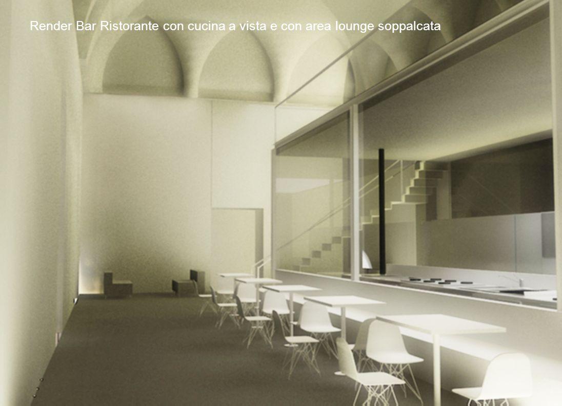 Render Bar Ristorante con cucina a vista e con area lounge soppalcata
